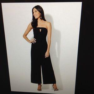 Black strapless culotte jumpsuit